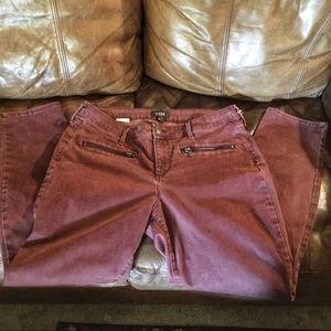 NYDJ Maroon Straight Leg Jeans, Sz 12
